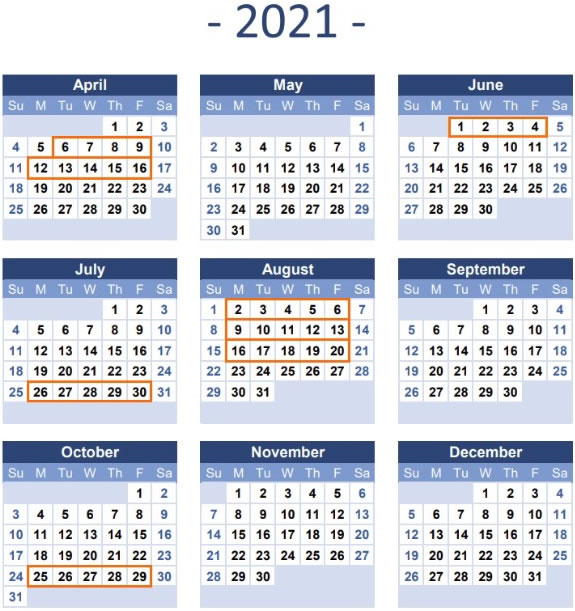 2021 Time Table