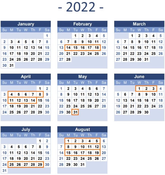2022 Time Table